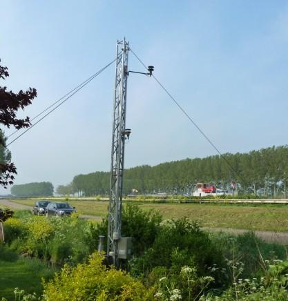 De opstelling van de meetinstrumenten langs het Amsterdam-Rijnkanaal. (foto ECN)