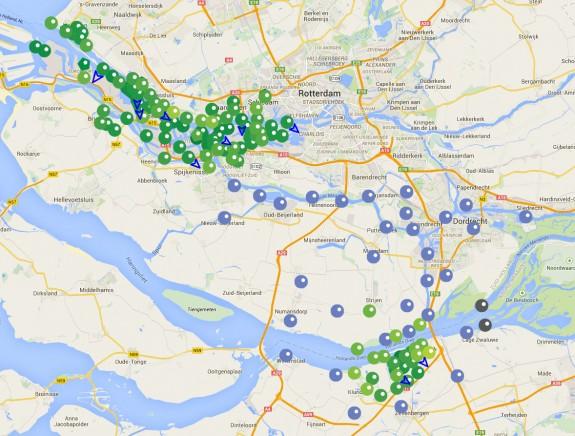 De bestaande locaties zijn groen. De blauwe e-noses zijn de nieuwe die gefinancierd worden met de safety deal.